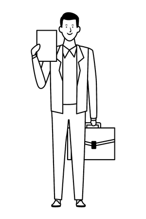 businessman avatar cartoon character with briefcase black and white vector illustration graphic design 向量圖像