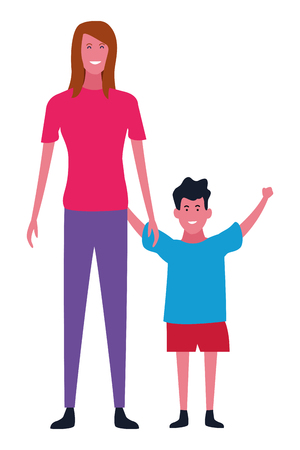 Family single mother with son vector illustration graphic design