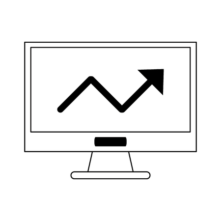 Computer screen with growth statistics symbol vector illustration graphic design 向量圖像
