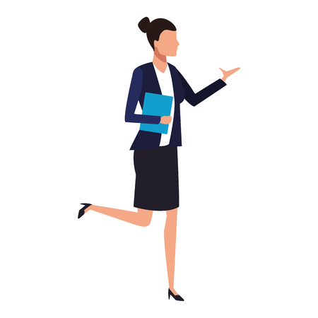 Businesswoman with portafolio cartoon vector illustration garphic design Imagens - 122681053