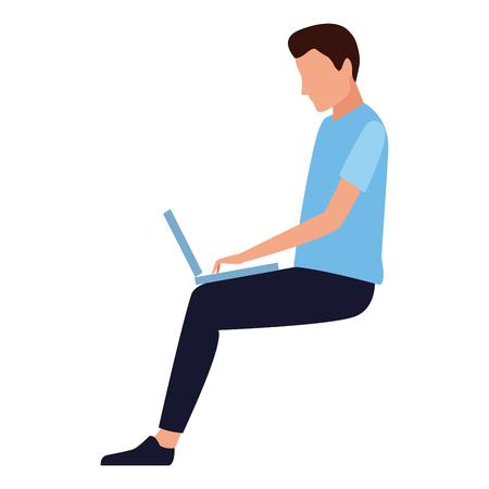Man seated using laptop cartoon vector illustration garphic design Foto de archivo - 122681104