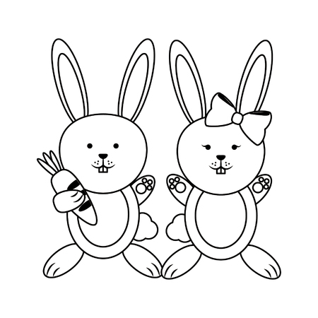Cute rabbits animals couple cartoons vector illustration graphic design