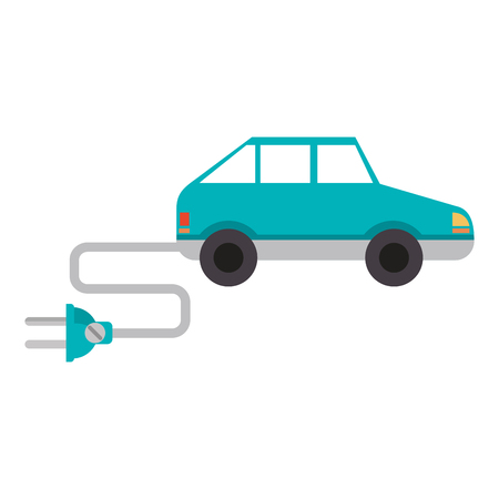 Electric car with wire and plug vehicle vector illustration graphic design
