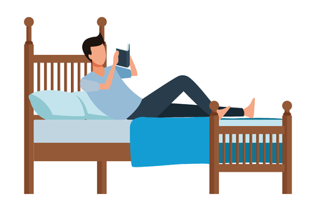faceless man bed book vector icon illustration graphic design Ilustración de vector