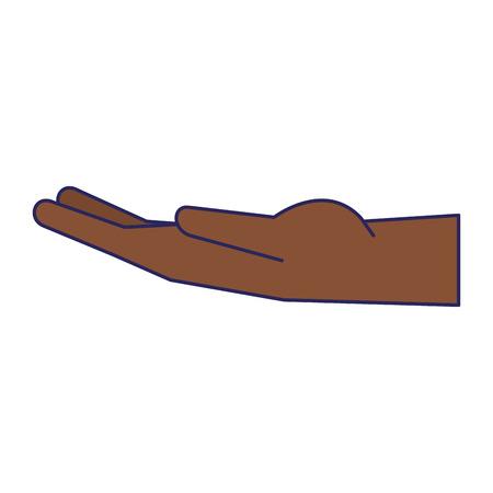 black hand open symbol vector illustration graphic design Banco de Imagens - 122681266