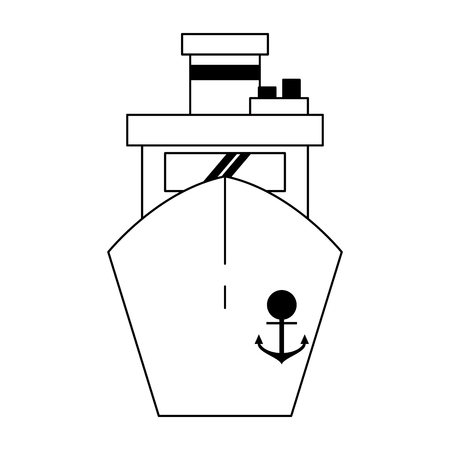 Freighter ship boat frontview symbol vector illustration graphic design