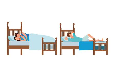 Dormitorio doble y diseño gráfico del ejemplo del icono del vector de la cama del coodle de la pareja