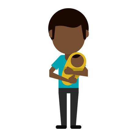 Père célibataire avec bébé dans les bras avatar sans visage vector illustration graphic design Vecteurs