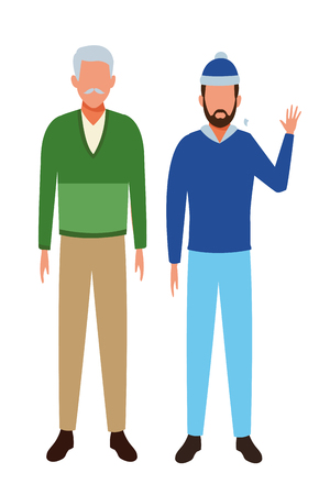 men wearing winter clothes avatar with beard and knitted cap vector illustration graphic design