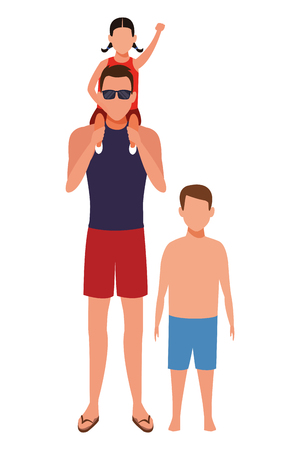 men with children avatar wearing summer clothes sunglasses cartoon character vector illustration graphic design Stock Illustratie