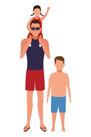 men with children avatar wearing summer clothes sunglasses cartoon character vector illustration graphic design Illustration