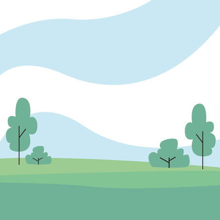 Nature landscape scenery with trees and grass vector illustration graphic design