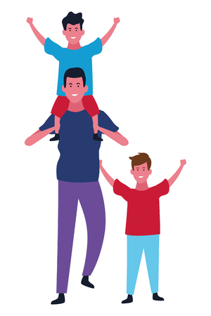 Family single father playing with boys vector illustration graphic design