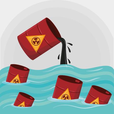 hazardous waste falling over the sea icon cartoon vector illustration graphic design