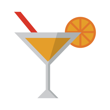summer cocktail with orange ans straw cup vector illustration graphic design Stock Illustratie
