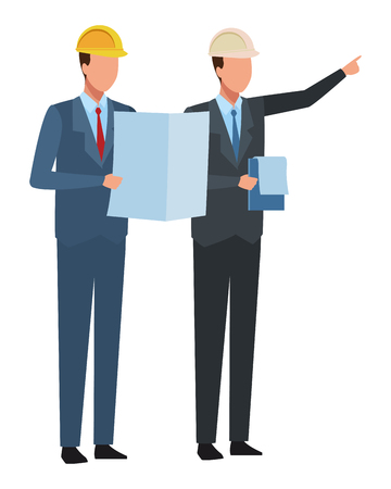 Bouw teamwork avatar ingenieurs met plannen en checklist vector illustratie grafisch ontwerp