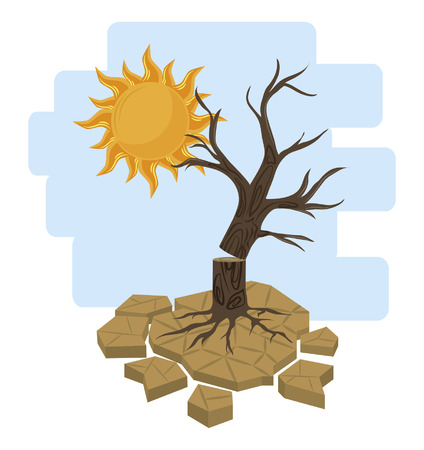 dead tree and sun icon cartoon vector illustration graphic design Reklamní fotografie - 122681622