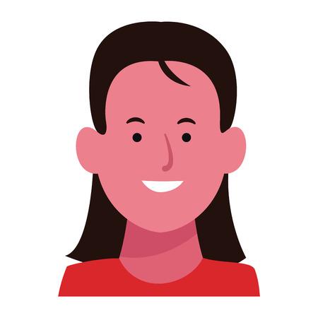 Girl smiling face cartoon vector illustration graphic design 일러스트