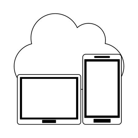 Cloud computing tablet and smartphone technology vector illustration graphic design