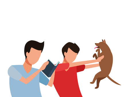 faceless friends and pet dog vector icon illustration graphic design