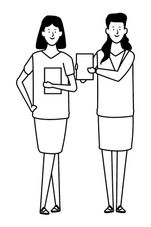 businesswomen avatar cartoon character with documents folder black and white vector illustration graphic design