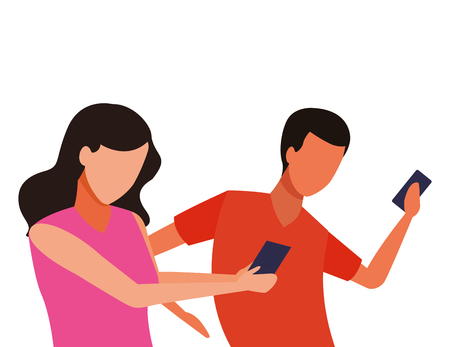 faceless couple together smartphone vector icon illustration graphic design Ilustrace