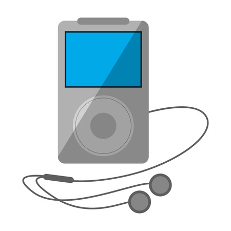 Music player with earphones device Illustration
