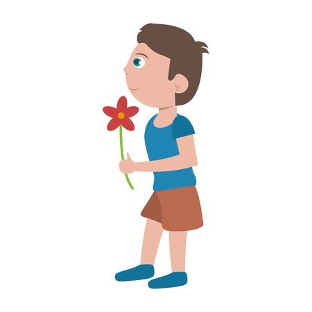 Junge mit Blumenkarikaturvektorillustrations-Grafikdesign Vektorgrafik
