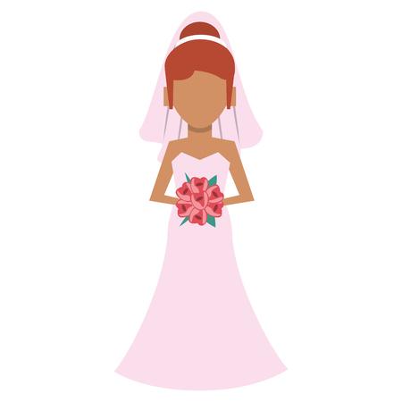 Wedding bride avatar cartoon vector illustration graphic design