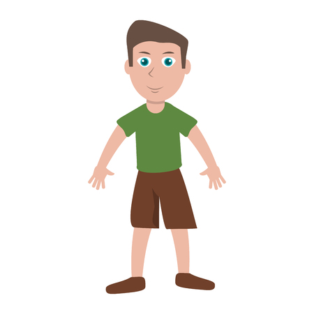 Cute boy cartoon isolated vector illustration graphic design