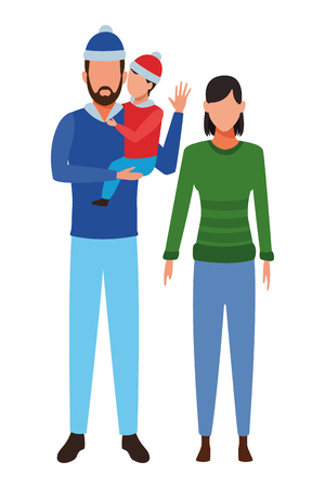 couple and child avatar wearing winter clothes and knitted cap vector illustration graphic design