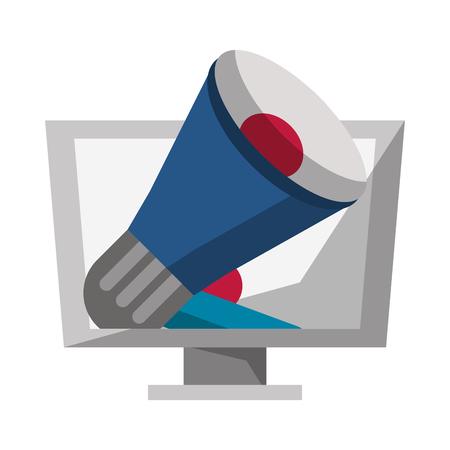 Computer bullhorn advertising symbol vector illustration graphic design Illustration