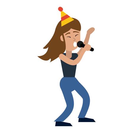 happy woman singing in birthday cartoon vector illustration graphic design Standard-Bild - 122611207