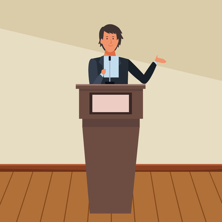 man in a podium making a speech indoor vector illustration graphic design