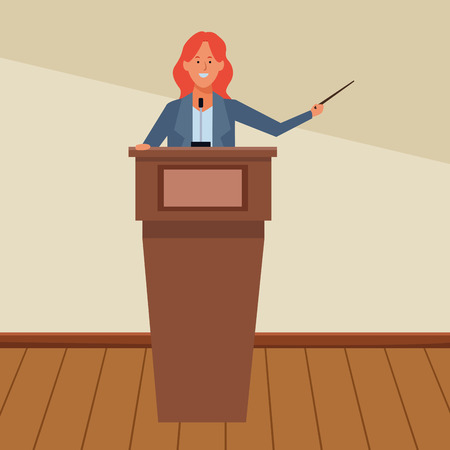 woman in a podium making a speech with a wand indoor vector illustration graphic design 일러스트