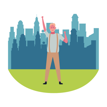 Happy old man dancing and smiling cartoon at city park scenery vector illustration graphic design