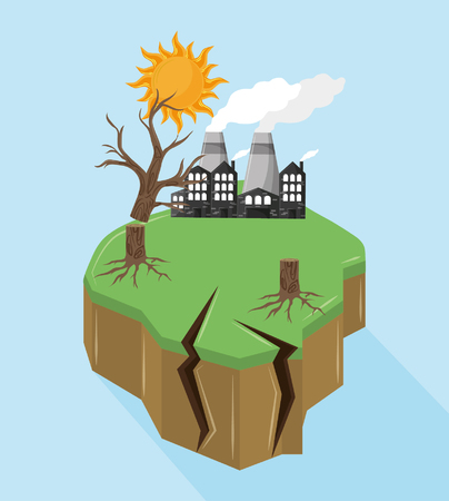 industrial factories with dead tree and sun icon cartoon vector illustration graphic design