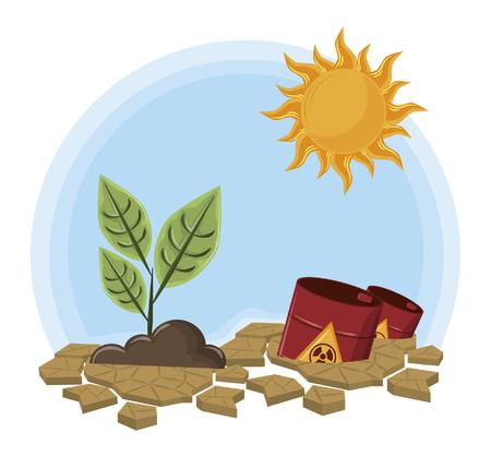 pianta rialzata accanto a rifiuti pericolosi e icona del sole fumetto illustrazione vettoriale graphic design Vettoriali