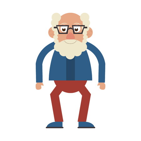 Elderly man grandfather with glasses isolated isolated vector illustration graphic design