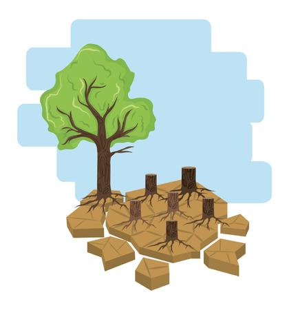 tree next to cut logs icon cartoon vector illustration graphic design