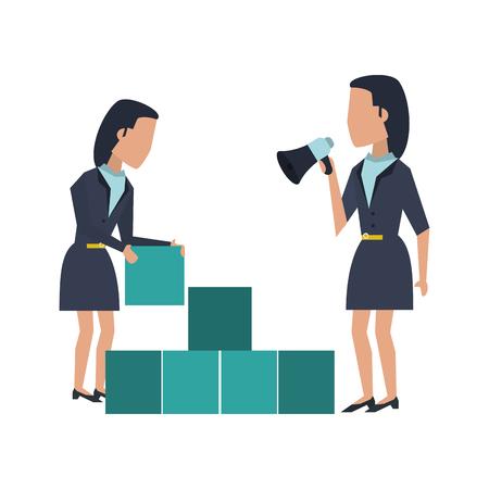 Business teamwork moving cubes avatar vector illustration graphic design Standard-Bild - 122614877