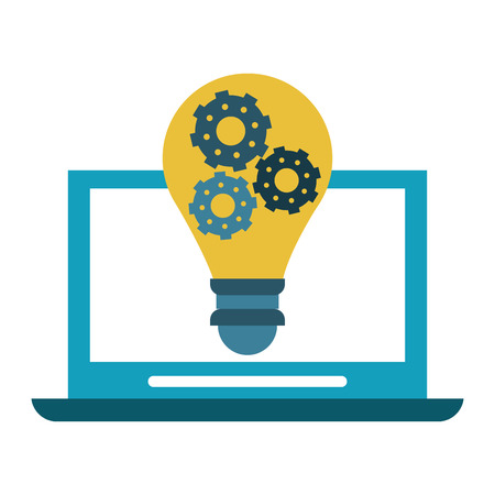 Laptop with big idea symbol vector illustration graphic design Ilustrace