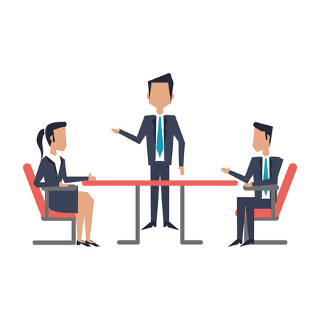 Business teamwork meeting on desk avatar vector illustration graphic design