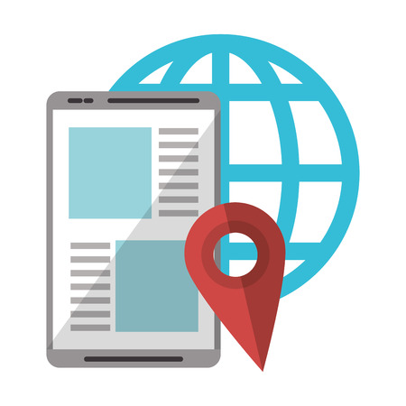 Tablet browsing online location with globe vector illustration graphic design Illusztráció
