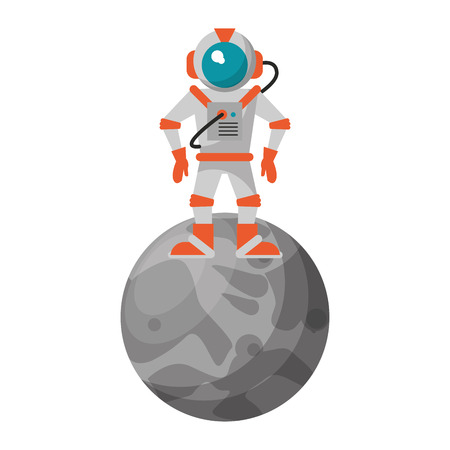 Astronaut on moon cartoon isolated vector illustration graphic design