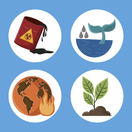 set of global warming and pollution icons hazardous whale tail globe desert raised plant round icon cartoon vector illustration graphic design Ilustrace