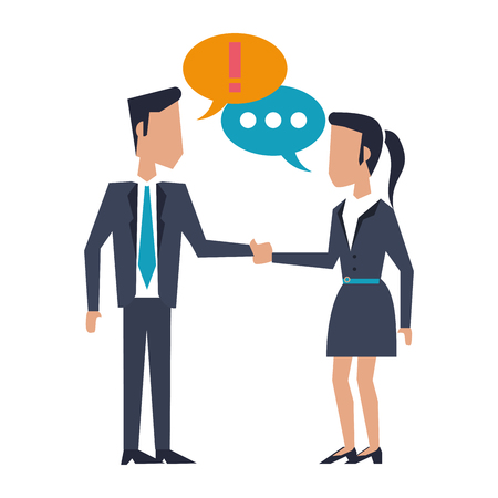 Businessman and businesswoman discuting vector illustration graphic design Standard-Bild - 122615091