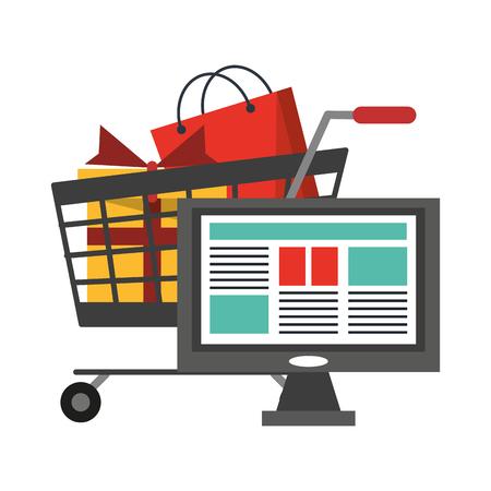 Diseño gráfico del ejemplo del vector de los símbolos de las compras y del pago en línea