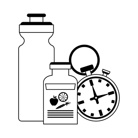 Fitness and gym equipment water bottle and diet supply bottle with timer vector illustration graphic design Illustration
