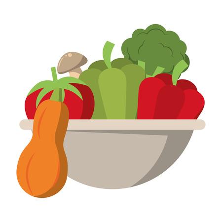 Fresh vegetables food in bowl vector illustration graphic design Standard-Bild - 122615185